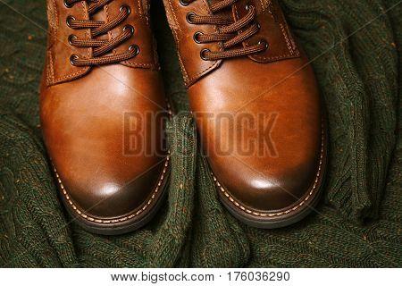 leather shoes brown closeup. Fashionable men's shoes