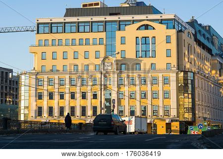 Moscow, Russia - January 30, 2017: The building of the Central Administration of the Central Bank of Russia in the area of Bolshaya Ordynka Street in Moscow