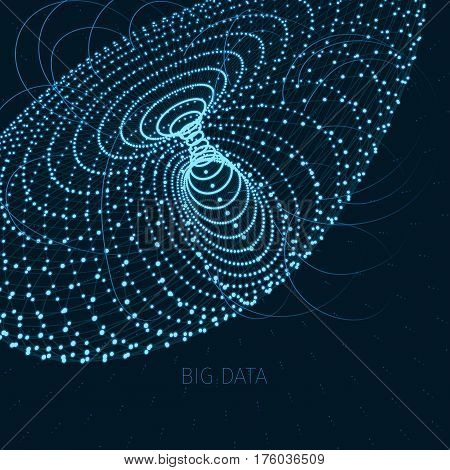 abstract digital composition with glowing particles forming a figure, big data concept
