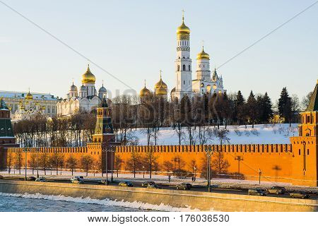Moscow, Russia - January 30, 2017: A view of the Cathedral Square of the Moscow Kremlin from the side of the Kremlin embankment