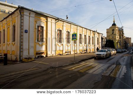 Moscow Russia March 9 2017: Church of Athanasius and Cyril the Patriarchs of Alexandria on the Sivtsev foe. Christian temple.