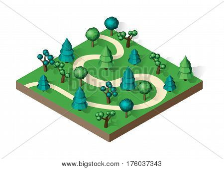 Isometric view projection summer landscape. Suburban road. Nature appearance of forest with trees. Stock vector.