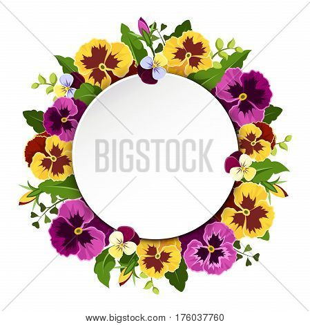Vector card with yellow and purple pansy flowers and green leaves.