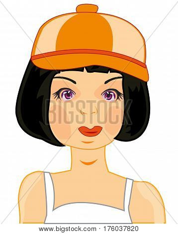 Making look younger woman brunette in cap on white background is insulated