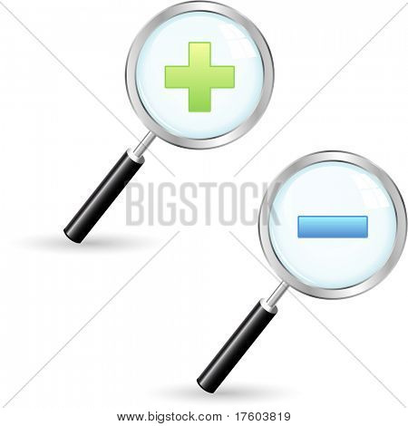 Magnifying glass. Vector set.