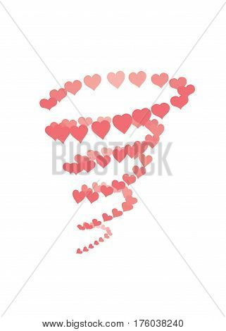 Hearts tornado with grouped elements that makes it easy to position element inside it