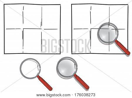 Magnifying glass with transparent effects over a blank folded paper