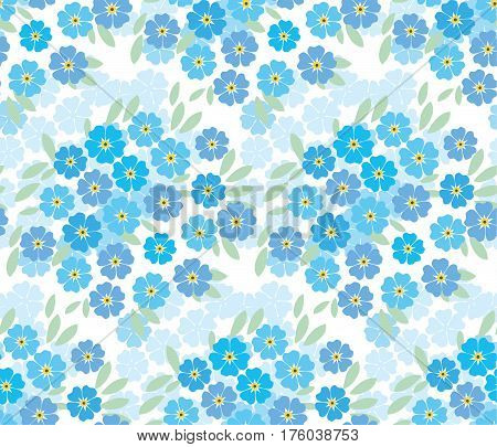 blue tender forget-me-not  flowers in retro style. elegant naive floral seamless pattern for fabric, poster, wrapping paper, wedding.