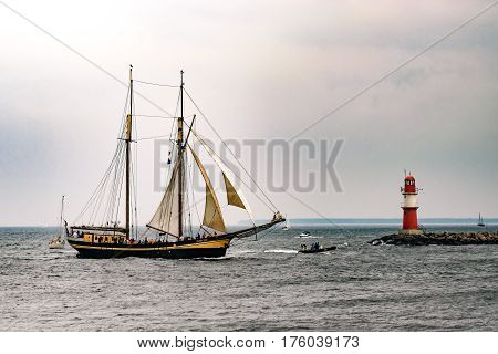 Rostock, Germany - August 2016: Sailing ship Zuiderzee on the baltic sea. Hanse-Sail Warnemuende at port Rostock, Mecklenburg-Vorpommern, Germany. Tall Ship.Yachting and Sailing travel. Cruises and holidays