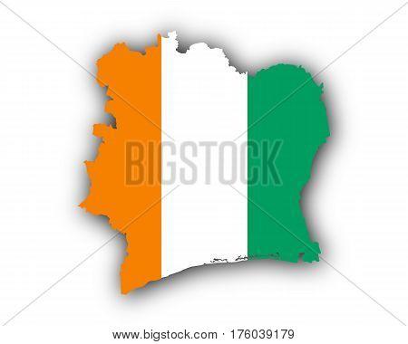 Map And Flag Of Ivory Coast