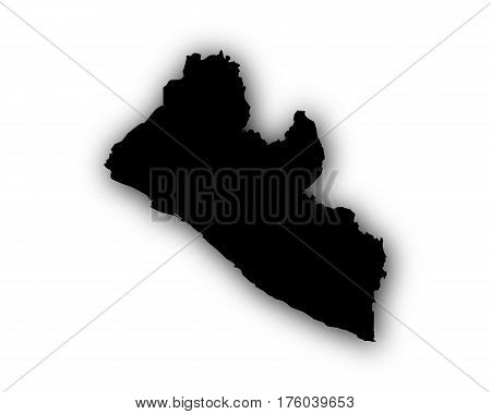 Map Of Liberia With Shadow