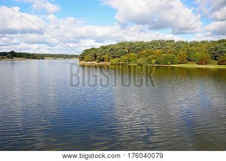View across Blithfield reservoir Blithbury Staffordshire England UK.