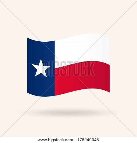 Waving flag of the state of Texas. USA. Accurate dimensions, proportions and colors. Vector Illustration