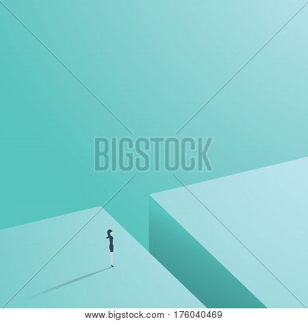 Business woman standing in front of gap as a symbol of challenge for businesswoman in career in business. Eps10 vector illustration.