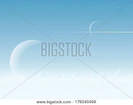 Space exploration concept vector illustration with two planets from outer space and space shuttle flying in the sky. Technology and innovation concept. Eps10 vector illustration.
