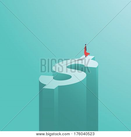 Superhero businessman with superpowers standing on top of dollar money sign. Symbol of business success, strength and power. Eps10 vector illustration.