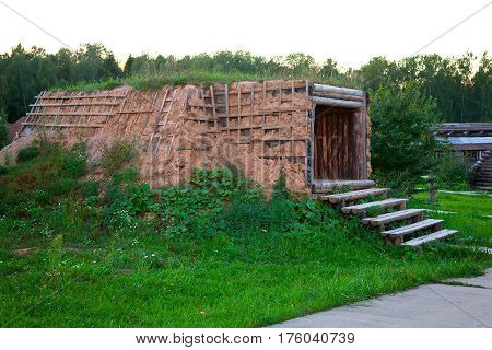 Karamo - the oldest form of dugouts. Winter home in the taiga zone of Russia the people of the Selkups.