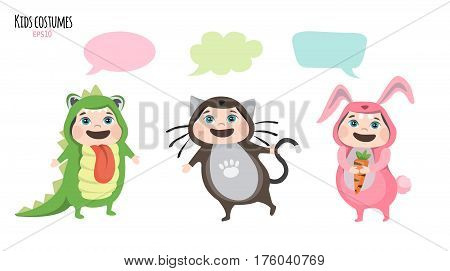 Cute kids in costumes communicate. Dialog bubble for communication.