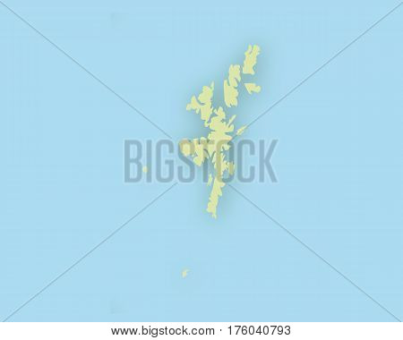 Map Of The Shetlands With Shadow