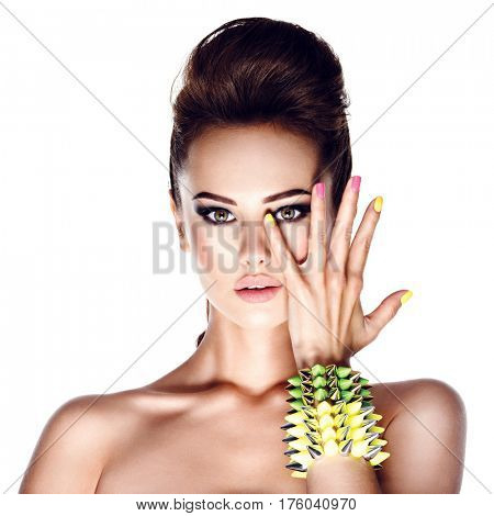 Beautiful fashion model with studded bracelet