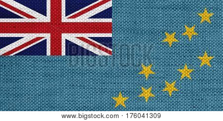 Colorful and crisp image of flag of Tuvalu on old linen