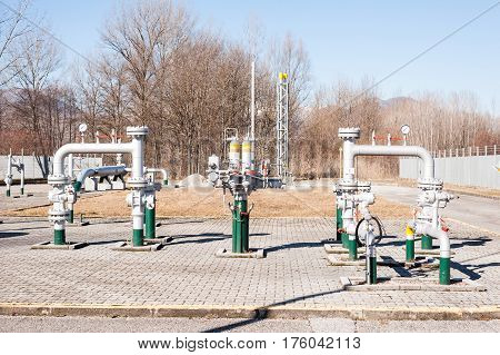Control Station And Gas Pipe Line Junction. Pipe , Tank And Valve.