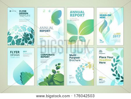 Nature and healthcare brochure cover design and flyer layout templates collection. Vector illustrations for marketing material, ads and magazine, natural presentation templates.