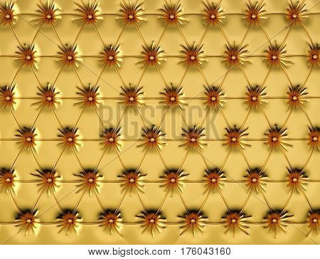 Gold leather background with buttons. 3d rendering