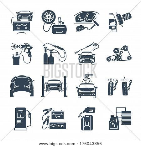 set of black icons servicing maintenance repair of car and auto