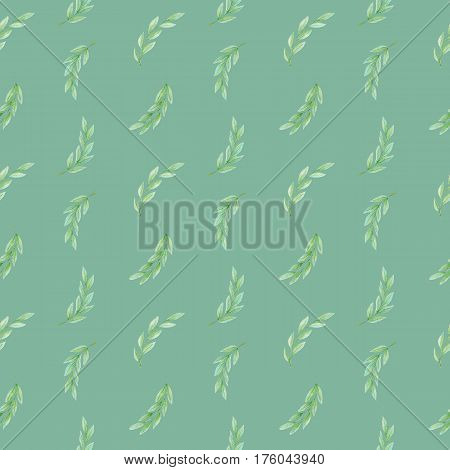 Hand drawn watercolor olive branch seamless pattern