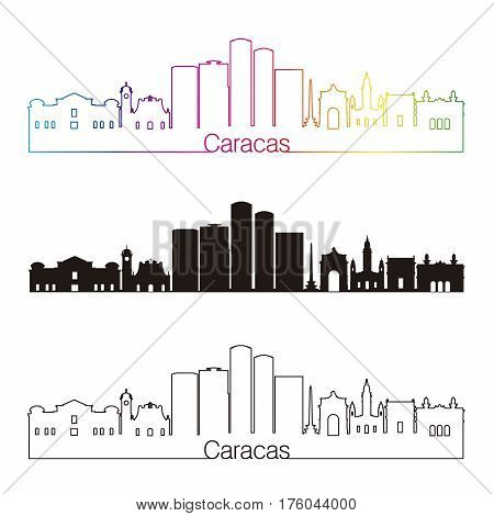 Caracas V2 Skyline Linear Style With Rainbow