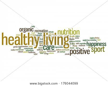 Concept or conceptual healthy living positive nutrition or sport abstract word cloud isolated on background