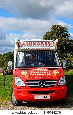BLITHBURY, UNITED KINGDOM - OCTOBER 2, 2016 - Ashmores ice cream van parked alongside Blithfield reservoir Blithbury Staffordshire England UK, October 2, 2016.