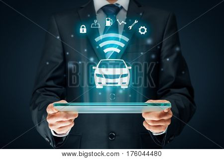 Intelligent car, intelligent vehicle and smart cars concept. Symbol of the car and information via wireless communication about security, parking, location, fuel, drive analysis, service and car settings.