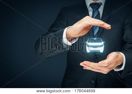 Car (automobile) insurance and collision damage waiver concepts. Insurer (insurance agent) with protective gesture and icon of a car.