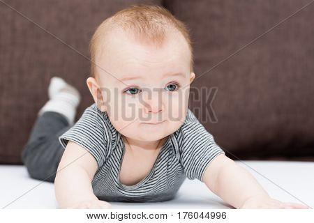 Portrait of a little cute boy of six months