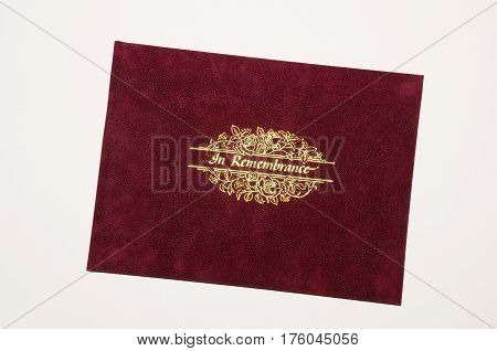 Leather In Remembrance booklet against a white background UK.