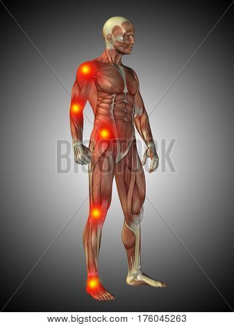 Conceptual 3D illustration of human anatomy body with pain and inflammation, gray gradient background