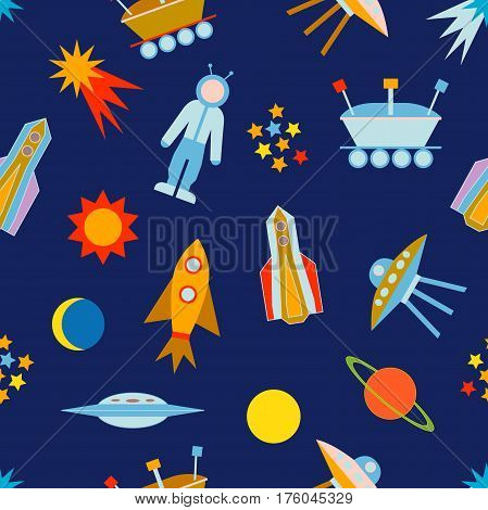 Seamless vector pattern with sun, moon, planets, astronaut, lunar rover, ships, comet. Children textile collection.