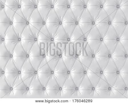 White leather background with buttons. 3d rendering