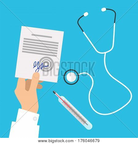 Medical stethoscope, transparent thermometer showing temperature and hands in white clothes holding white prescription list with blue signature on blue background. Vector picture of medical things