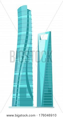 Skyscraper two glass buildings isolated on white. Traditional attribute of big cities for people living and for offices. Vector illustration of futuristic modern buildings with huge glass windows