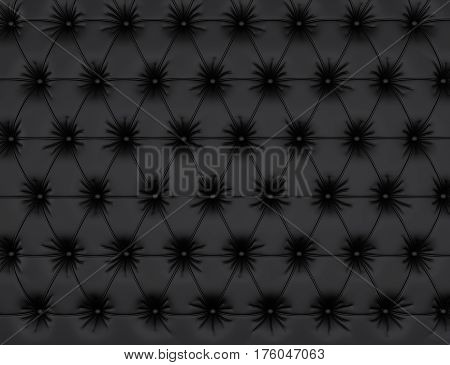 Black leather background with buttons. 3d rendering