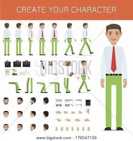 Create your character businessman collection on white. Vector infographic poster of full length male person portrait and his poses, black bags, bent arms with objects and legs, faces with emotions
