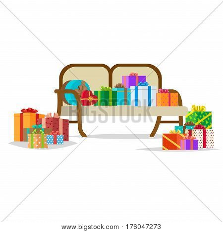 Presents with bows on and near bench on white background. Recieve and fold gifts or birthday presents. Sofa full of boxes with bows. Celebrate holidays and exchange gifts isolated vector illustration.
