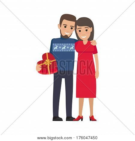 Boy and girl hug each other, smile and boy holds heart-shaped gift on white background. Illustration of love and romantic moment. St.Valentine s Day celebration isolated vector illustration.
