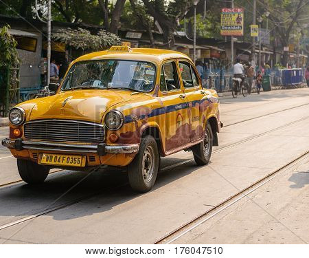 KOLKATA, INDIA - 20 December, 2016: Taxi in a street in Kolkata, India