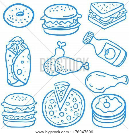 Doodle of delicious food vector art collection stock