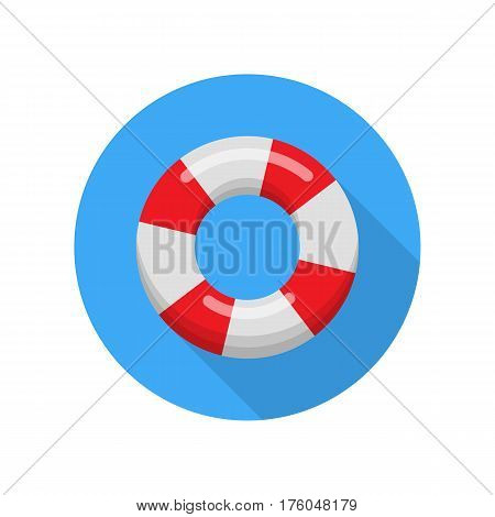 Lifebuoy isolated on white background. Realistic red and white life buoy. Emergency lifebelt. Rescue safety object. Lifeguard sea equipment. Ring buoy insurance. Lifesaving belt. Vector illustration