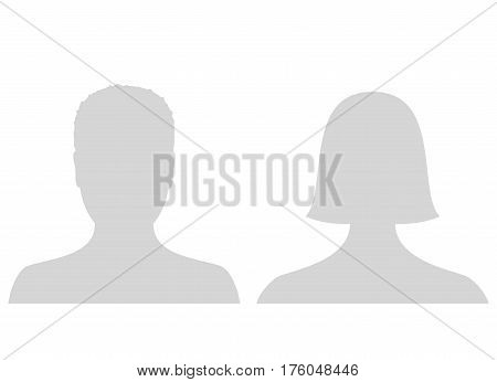 Default male and female avatar profile picture icon. Grey man and woman photo placeholder. Vector Illustration